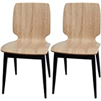 Dporticus 2 Set Dining Chair W/ Slolid Wood Curved Back & Metal Legs Bistro, Bar, Cafe Antique Chic Side Chairs, Stack Storage