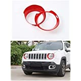 FMtoppeak Red ABS Ring Bezel Exterior Decoration Kit Head Light Trim Lamp Cover For 2014 UP Jeep Renegade