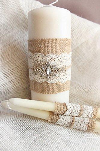 (Burlap Unity candles white OR ivory - Burlap & Lace unity wedding candle set of 3 candles for Western Wedding, Rustic Country Candle, Burlap wedding candles)