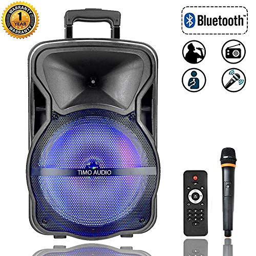 TM 15'' PA System Speaker 60W peak to 600W Bluetooth Portable Speaker with MP3/USB/TF/FM Radio/KARAOKE function,wheels& Hole designed for speaker stand, LED Party Light, wireless Microphone and remote control (15 inch)