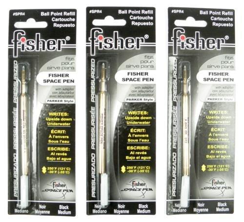 Fisher Space Pen - 3 Pressurized Cartridges Black Ink Bold Point #SPR4B