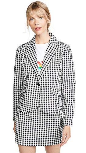 (BB Dakota Junior's Gingham Style Fitted Blazer, Black, Large)