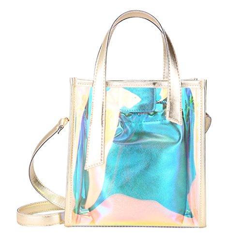Liu Yu·casa creativa Bolso de Crossbody Bolso de Hombro Transparente de la Jalea de Las Mujeres Bolso Elegante de Messenger Bag Wild (Color : La Plata) Oro