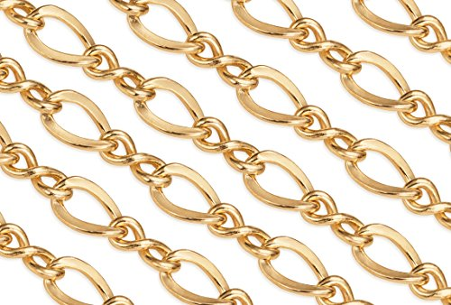 2' Figure (2 Feet 14Kt Gold Filled Figure Eight Chain 3.8x2.2 mm 28 Gauge For Diy Beading Arts and Crafts)