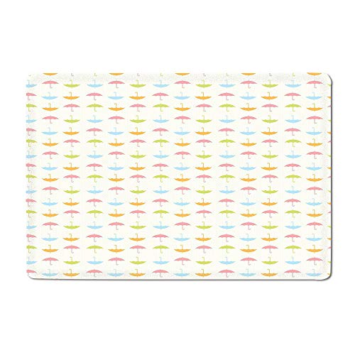 - Umbrella Door mat Pastel Colored Flat Umbrellas with Bent Handles Going Up and Down on Tiny Dots Bathtub mat Multicolor 16
