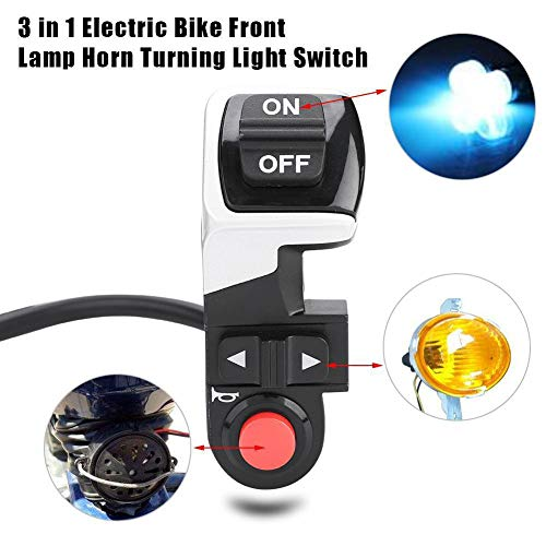 difcuyg5Ozw Portable 3 in 1 Scooter Electric Bike Turn Signal Light Head Tail Lamp Multifunctional Horn Button Switch