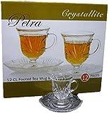 Crystallite Petra Footed Tea Cup(6) & Saucer Set(6), 4 oz