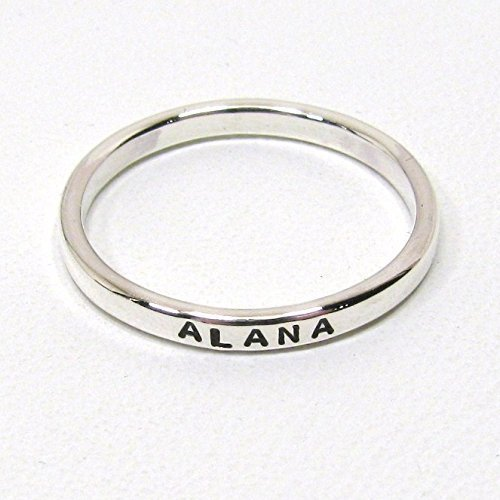 Date Ring (Personalized Sterling Silver Stacking Ring - 2.4 mm wide)
