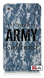 Military Proud Army Girlfriend Digital Camo Blue Camouflage Apple ipod 4 Quality Hard Case Snap On Skin for ipod 4/4G (WHITE)