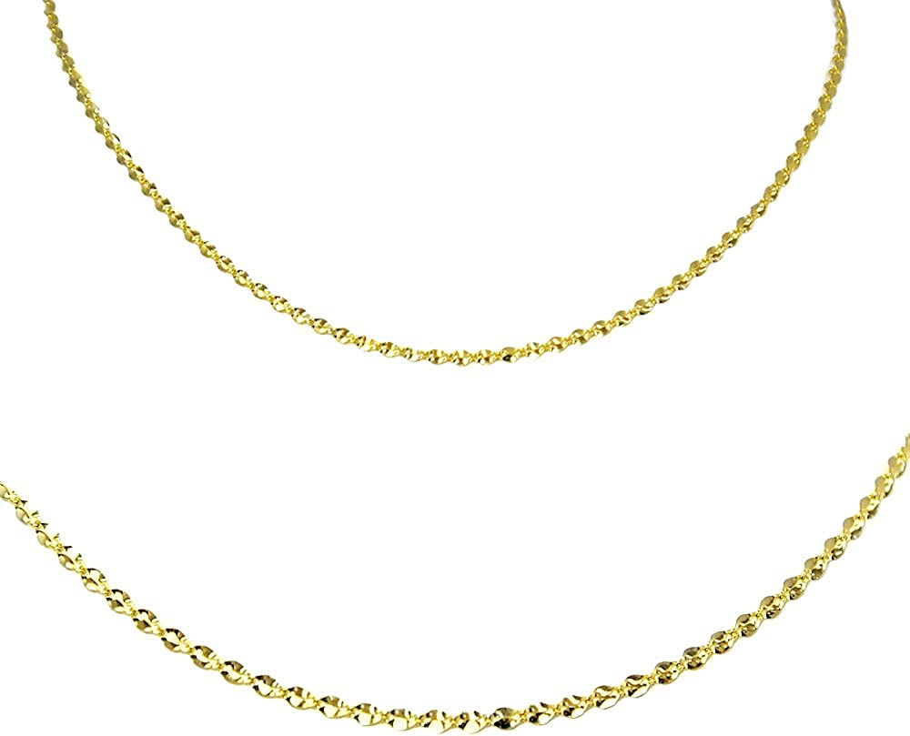 14k Yellow Gold Hollow Rendant Curved Mirror Chain