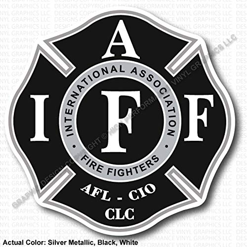 - High Performance Vinyl Graphics LLC IAFF Union Firefighter Decal Silver Metallic Black White 3.7