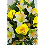 Spring-or-Easter-Cemetery-Flowers-with-Yellow-Roses-and-Easter-Lilies-for-Grave-Decorations