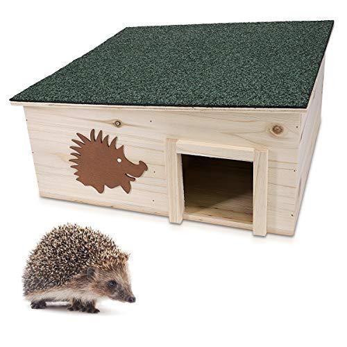 Navaris Wooden Hedgehog House – Protective Hedgehog Shelter Box for Outdoor, Garden – Hedgehog Den for Sleeping, Summer, Nesting, Winter Hibernation