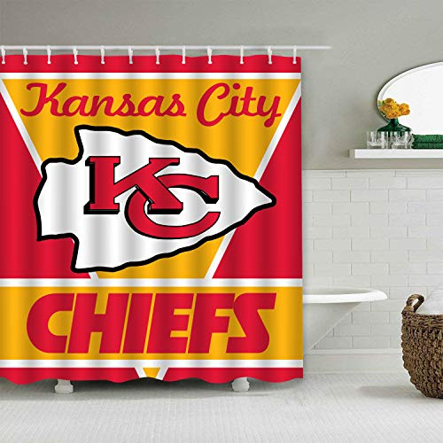 Jerrymoaus Custom Colourful Tootball Team Kansas City Chiefs Shower Curtain Polyester Waterproof and Mildew Proof for Bathroom Decoration Set with Hooks 66x72 Inches
