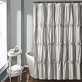 "Lush Decor Darla Ruched Floral Bathroom Shower Curtain, x 72"", Light Gray"