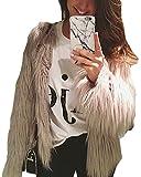 Anself Women's Solid Color Long Sleeve Shaggy Faux Fur Short Coat Jacket