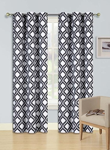 Gorgeous Home (Fu0027S)DIFFERENT COLORS U0026 SIZES 2PC PANELS GEOMETRIC PATTERN  PRINTED THERMAL FOAM LINED BLACKOUT HEAVY THICK WINDOW CURTAIN DRAPES  SILVER ... Part 12