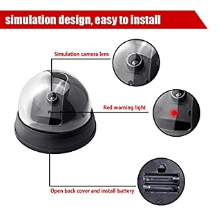 Fake Security Camera,Fuers Simulation Dummy Hemisphere Dome Camera Indoor/Outdoor Waterproof with Flashing Red LED Light for Home Business,2 Pack