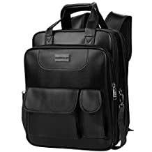 VanGoddy PU Leather Shoulder Bag Backpack and Messenger Bag for iPad Pro 12.9 / Microsoft Surface Pro 4 3 / Surface Book 13.5 / Samsung Galaxy Tab MAX 13.5 (Black)