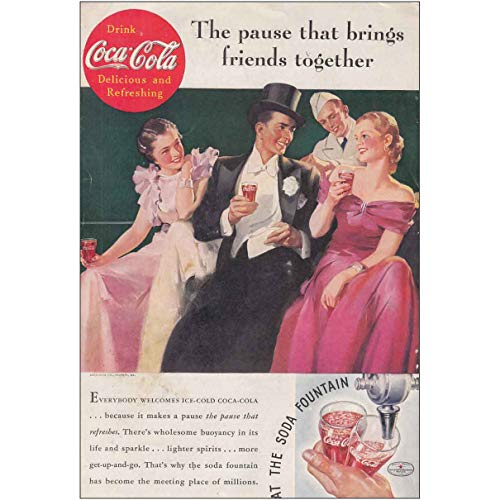 RelicPaper 1935 Coca Cola: Soda Fountain, Top Hat, Coca Cola Print Ad