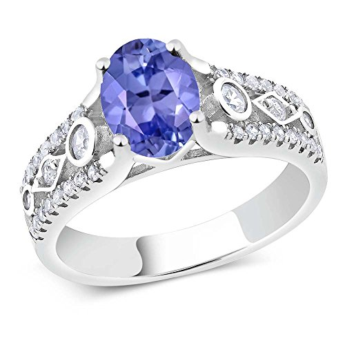 1.66 Ct Blue Tanzanite AAAA 925 Sterling Silver Engagement Ring (Size 7)