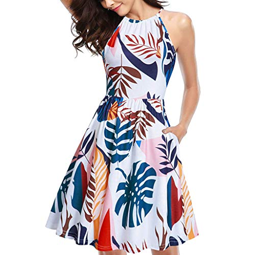 Women's Halter Neck Floral Summer Dress Casual Sundress with Pockets Casual Sundress Hawaiian Print Shift Dress White ()