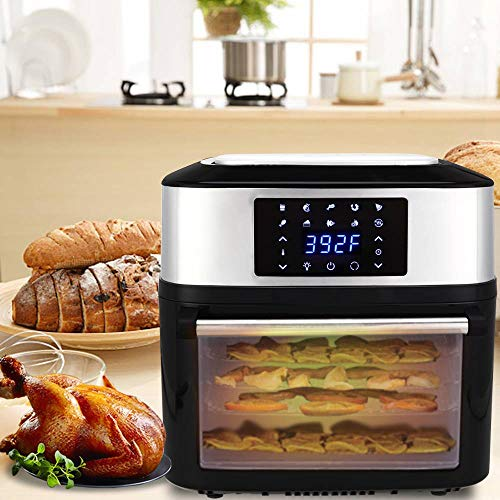 ZOKOP 16.9 Quarts Air Fryer 1800W ETL Listed All-in-One Air Fryer Oven, Rotisserie, Dehydrator, Oilless Cooker, 8 Cooking Presets, 9 Accessories LED Touch Screen Auto-Shutoff Safety Black