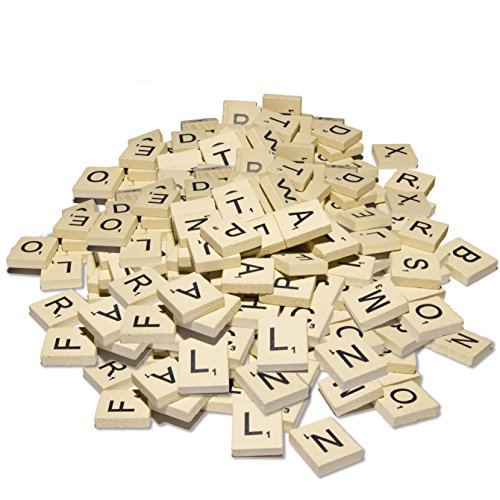 Scrabble Tiles - 100 New Light Wooden Letters and Numbers Great for Crafts, DIY, Game Board by VSBests