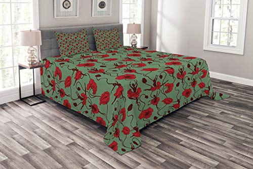 Ambesonne Poppy Bedspread, Floral Arrangement with Abstract Ballerina Dance Themed Botanical Print, Decorative Quilted 3 Piece Coverlet Set with 2 Pillow Shams, Queen Size, Green Chestnut Brown Red