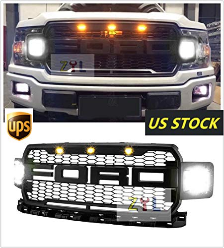 For Ford F 150 F150 2018 Oem Raptor Style Black Front Bumper Grille Conversion Abs Replacement Honeycomb Grill With 3 Amber Led Lights Letters F R With Two Sides Led Bright Light