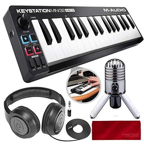 M-Audio Keystation Mini 32 MK3 Portable Mini-USB MIDI Controller with USB Studio Condenser Microphone Deluxe Bundle