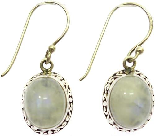 925 Sterling Silver Moonstone Drop Dangl Earrings Hook Eardrop Ear Studs