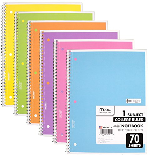 Mead Spiral Notebook 1-Subject College Ruled, Pastel Color (Pack of 6) College Notebook