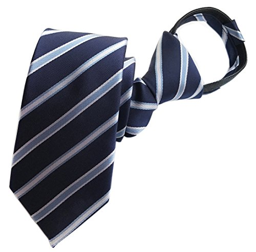 Elfeves Mens Classic Repp Blue Navy Grey Jacquard Woven Silk Tie Necktie (Blue Stripe Silk Boys Tie)