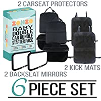 Zohzo Double Baby Car Bundle - Car Seat Protector Cover, Baby Car Mirror, Kick Mat Organizer| Perfect Gift for Baby Shower, New Infants, and Rear Facing Car Seats