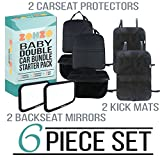 Zohzo Double Baby Car Bundle - Car Seat Protector Cover - Baby Car Mirror - Kick Mat Organizer| Perfect Gift for Baby Shower - New Infants - and Rear Facing Car Seats