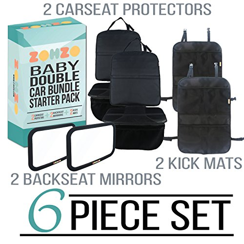 - Zohzo Double Baby Car Bundle - Car Seat Protector Cover, Baby Car Mirror, Kick Mat Organizer| Perfect Gift for Baby Shower, New Infants, and Rear Facing Car Seats