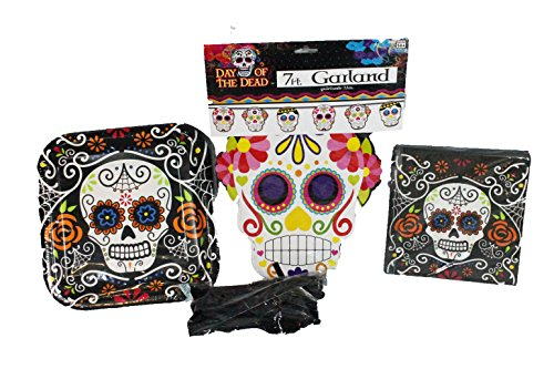 [Day of the Dead Party Supply Kit for 16 with Plates, Napkins, Cutlery and a 7 Ft. Sugar Skull] (Day Of The Dead Party Supplies)