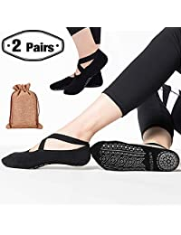 Yoga Grip Socks for Woman,Pilates Socks with Keeping-on Straps,SemiShare Non-Slip Barre Sticky Socks for Pilates, Pure Barre, Ballet, Dance(Black,2pack)