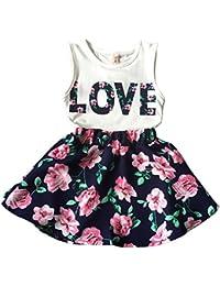 Girls Letter Love Flower Clothing Sets Top+Short Skirt Kids Clothes