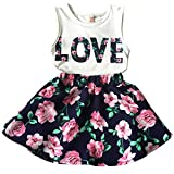 Jastore Girls Letter Love Flower Clothing Sets Top+Short Skirt Kids Clothes (5-6T)
