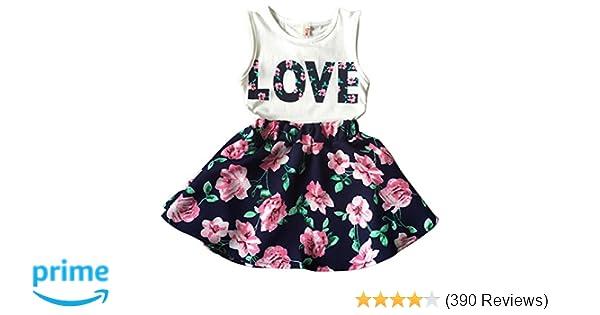 972fdbbe80b2 Amazon.com  Jastore Girls Letter Love Flower Clothing Sets Top+Short ...