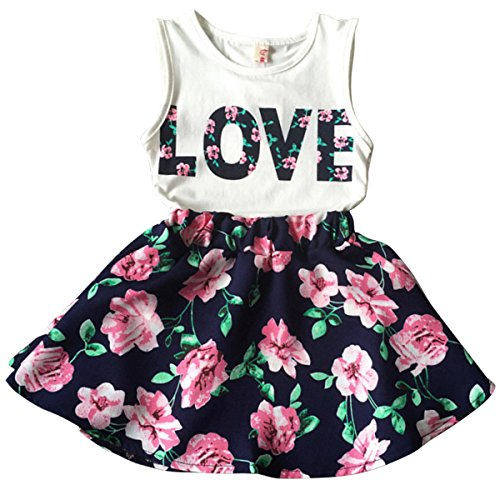 Jastore Girls Letter Love Flower Clothing Sets Top+Short Skirt Kids Clothes (6-7T)]()