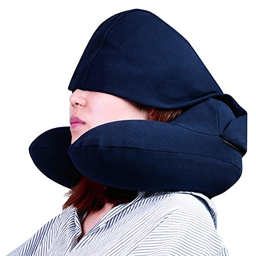 Travel Neck Pillows Inflatable with Hood,U Shape Hoodie Neck