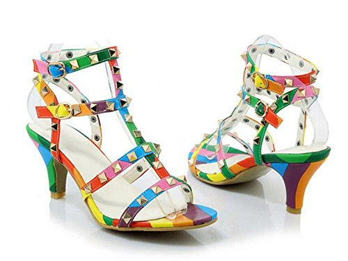Toe Banquet Pumps New Rivets Roman Peep Summer Ankle High Shoes Charming Rainbow Strap Shoes Big Heel Size Sandals suit Fine Women fIU5qf