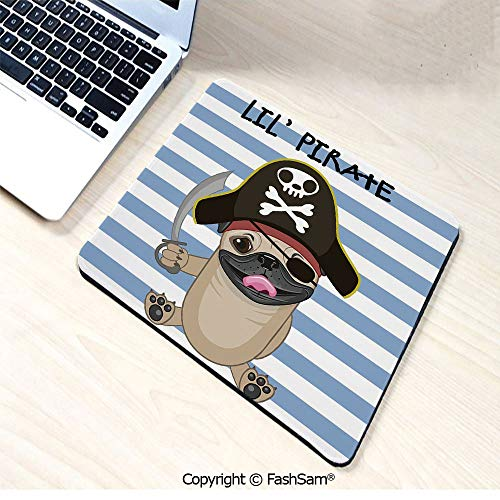 Desk Mat Mouse Pad Buccaneer Dog in Cartoon Style Costume Holding Sword Lil Pirate Striped Backdrop for Office(W9.85xL11.8) -