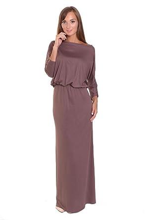 a37f259b59e9e Kleid Lang Maxi Kleid elastischer Bund 3/4 Arm Gr. S M L XL 2XL 3XL ...