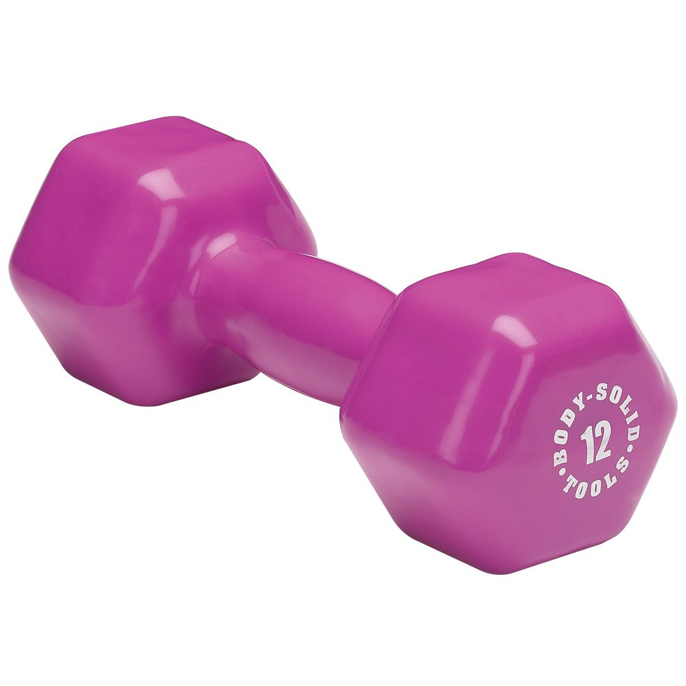 Body-Solid Tools BSTVD12 12-Pound Vinyl Dumbbell (Magenta)