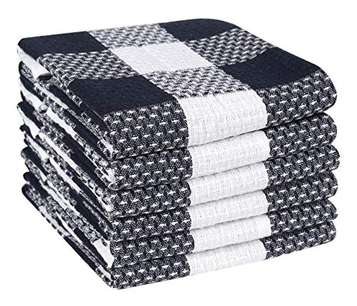 Ramanta Home Classic Vintage Veronica Check Plaid 100% Cotton Kitchen Dish Towels 6 Pack Oversized 18x28 Super Absorbent Cleaning Towels ()