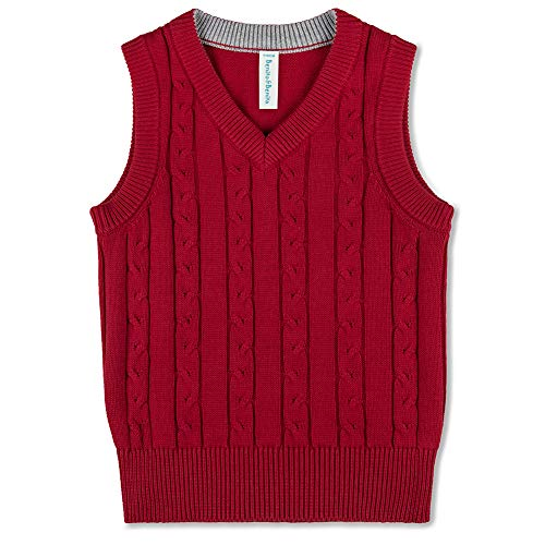 Benito & Benita Boys' Sweater Vest School V-Neck Uniforms Cotton Cable Knit Pullover Sweaters for Boys/Girls 3-12Y (Red, 7-8Y/128CM)